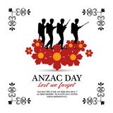 Anzac day with Silhouette soldiers in the field. Vector illustration graphic design Stock Photos
