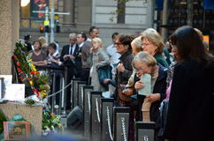 ANZAC Day Sunset Service am Ehrengrabmal, Martin Place Lizenzfreie Stockfotografie