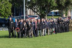 Anzac Day 2018, Tauranga, New Zealand. Veterans and members of the army and navy. Veterans of past wars, and current members of the army and navy, march into Royalty Free Stock Photos