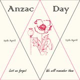 Anzac day 25th of April royalty free illustration