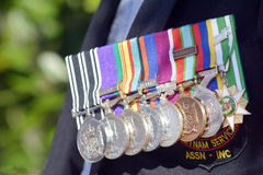 Anzac Day - War Memorial Service. Close up of war medals on New Zealander soldier during a National War Memorial Anzac Day services in New Zealand Stock Photography