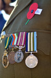 Anzac Day - War Memorial Service. Close up of war medals on New Zealander soldier during a National War Memorial Anzac Day services in New Zealand Stock Image