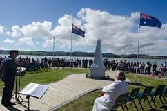 Anzac Day - War Memorial Service. MANGONUI, NEW ZEALAND - APRIL 25 2014: The  National War Memorial Anzac Day Service in Mangonui New Zealand Stock Images