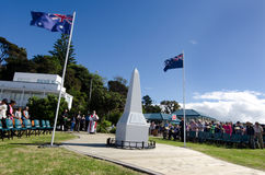 Anzac Day - War Memorial Service. MANGONUI, NEW ZEALAND - APRIL 25 2014: The  National War Memorial Anzac Day Service in Mangonui New Zealand Stock Photos