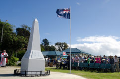 Anzac Day - War Memorial Service. MANGONUI, NEW ZEALAND - APRIL 25 2014: The  National War Memorial Anzac Day Service in Mangonui New Zealand Royalty Free Stock Photos