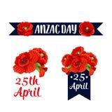 Anzac dnia 25 Kwietnia czerwone makowe wektorowe ikony Zdjęcia Royalty Free