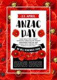 Anzac dnia 25 Kwietnia czerwony makowy wektorowy plakat Fotografia Royalty Free