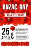 Anzac dzień Aby nie Zapominamy czerwonego makowego wektorowego plakat Obraz Royalty Free