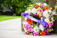 ANZAC Floral Wreath on Rememberance Day. royalty free stock photo
