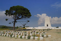 ANZAC Graveyard. A view from one of the ANZAC graveyards at Canakkale / Turkiye. Tombs, tombstones and the memorial monument are visible. These are the tombs of Royalty Free Stock Photo