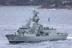Anzac-klassefregatte HMAS Perth FFH 157 der k?niglichen australischen Marine lizenzfreie stockfotos