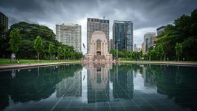 ANZAC Memorial reflection in Hyde Park in Sydney CBD stock photography