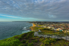 Anzac Memorial Walk and Bar Beach in Newcastle NSW Australia. Bar Beach is a popular beach and the name of the surrounding suburb in Newcastle, New South Wales stock photo