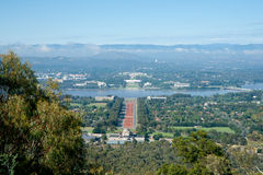 Anzac Parade , Lake Burley Griffin view. Stock Photos