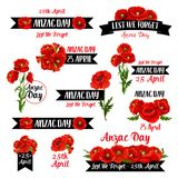 Anzac Remembrance Day badge of red poppy flower. Anzac Day badge set of red poppy flower and black ribbon with Lest We Forget message. Australian and New Zealand royalty free illustration