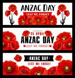 Anzac Remembrance Day banner with red poppy flower royalty free illustration