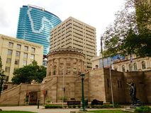 ANZAC Square Memorial park, high rise buildings, Brisbane city, Australia stock photography
