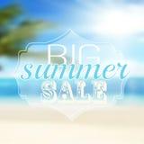 Anzeige über den Sommerschlussverkauf auf defocused Stockbilder