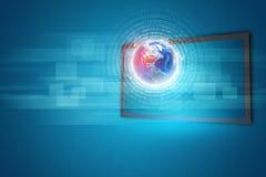 Anzeige des Bildschirm- mit Kugel und leuchtenden Zahlen Stockfotos