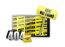 Anzeige des Fehlers 404 auf einer Tablette. Stockbilder