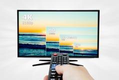 Anzeige des Fernsehen 4K mit Vergleich von Beschlüsse Stockfotos