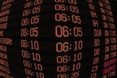 Anzeige mit Zeitplan der Flugzeugabfahrt Stockbilder