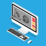Anzeige zugeschlossen auf sichere Tür Lizenzfreie Stockfotografie