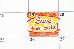 Anzeigen-Abwehr das Datum im Kalender Lizenzfreies Stockfoto