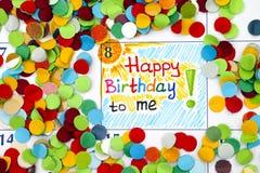 Anzeigen-alles Gute zum Geburtstag zu mir im Kalender stockbild