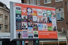 Anzeigen-Stadt-Wahlen Amsterdam niederländische 2018 lizenzfreie stockfotografie