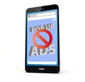 Anzeigenblockertelefon Stockfoto