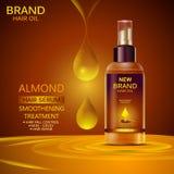 Anzeigenförderungsfahne für Mandelöl-Haarserum für glättendes und starkes Haar lizenzfreie abbildung