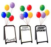 Anzeigenzeichenbretter mit Ballonen Lizenzfreies Stockfoto
