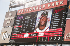 Anzeigetafel bei Washington Nationals Ball Park Lizenzfreies Stockfoto