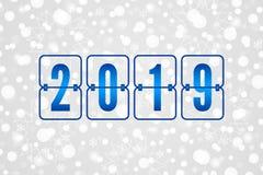 Anzeigetafel guten Rutsch ins Neue Jahr-Vektorillustration 2019 Winterurlaubschneemuster Weißer und grauer dekorativer Weihnachts vektor abbildung