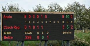 Anzeigetafel während des Superturniers des Baseballs 6 lizenzfreie stockfotos