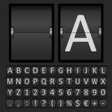 Anzeigetafel-Zeichen-und Zahl-Alphabet Stockfotos