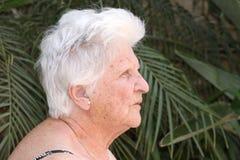 Anziana con la protesi acustica Fotografie Stock