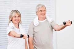 Anziani attivi che si esercitano in ginnastica Immagini Stock Libere da Diritti