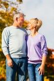 Anziani in autunno o in caduta che camminano congiuntamente Fotografie Stock