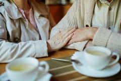Anziani in caffè Fotografie Stock Libere da Diritti