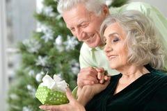 Anziani che celebrano il Natale Immagine Stock