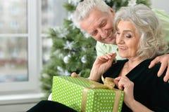 Anziani che celebrano il Natale Fotografie Stock