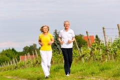 Anziani che corrono nella natura che fa sport Fotografie Stock Libere da Diritti