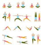 Anziani di yoga di pratica Insieme dei asanas Distenda e Meditate Stile di vita sano di pensione illustrazione vettoriale