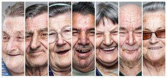 Anziani felici Collage degli uomini e delle donne anziani contentissimi e sorridenti Fotografia Stock