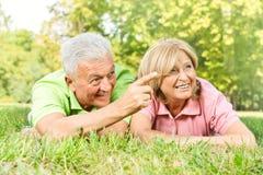 Anziani felici distesi Immagini Stock