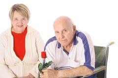 Anziani felici isolati su bianco Fotografia Stock Libera da Diritti