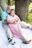 Anziani romantici all'aperto fotografia stock