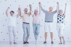Anziani sorridenti divertendosi mentre godendo della vigilia del ` s del nuovo anno immagine stock